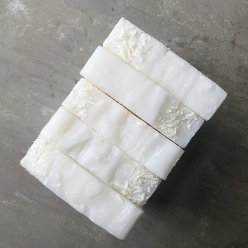 Coconut and Lime Hand and Body Soap Scrub Bars in a block
