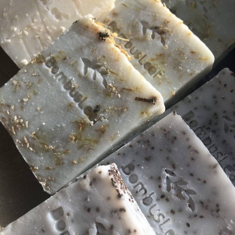 Close up of 3 Soap Scrubs