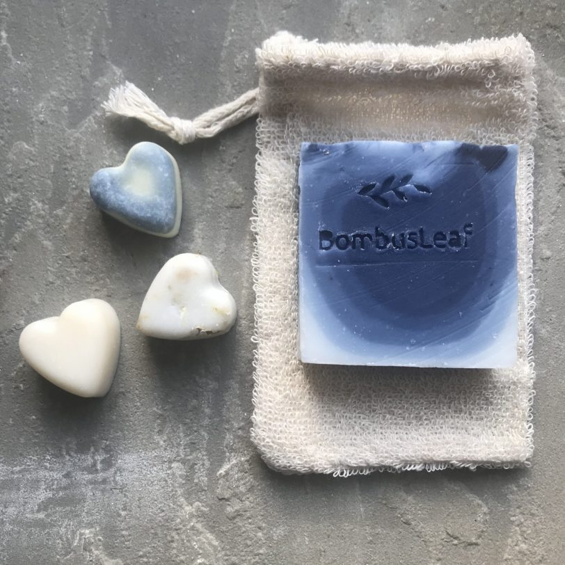 Organic Unbleached Cotton Soap Pouch and Lavender and Eucalyptus hand and body Soap