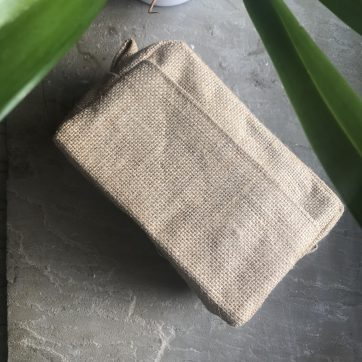 Jute Cosmetic and Toiletry Bag Side View