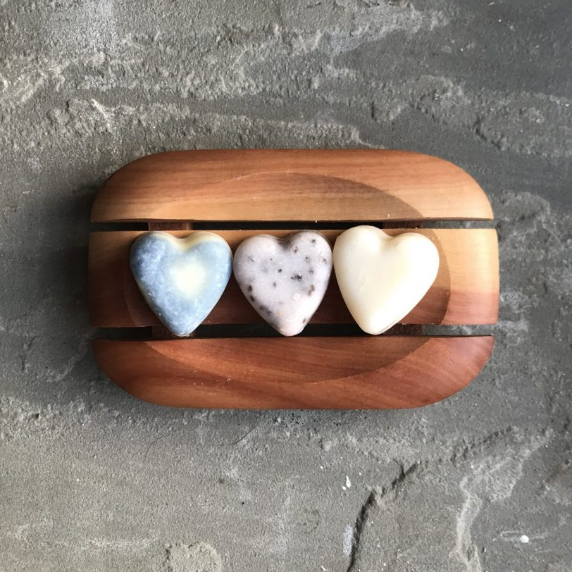 Wooden Soap Dish with three wedding heart soaps