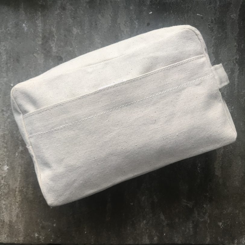 Unbleached Light Cream Coloured Cotton Cosmetic and Toiletry Bag Side View