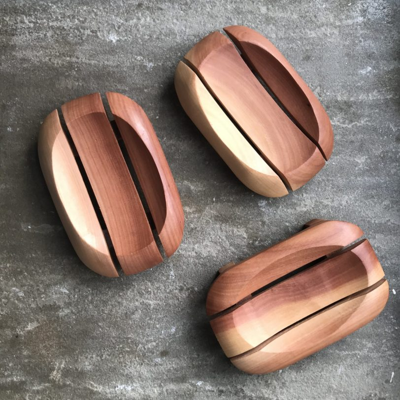 Three Wooden Soap Dishes