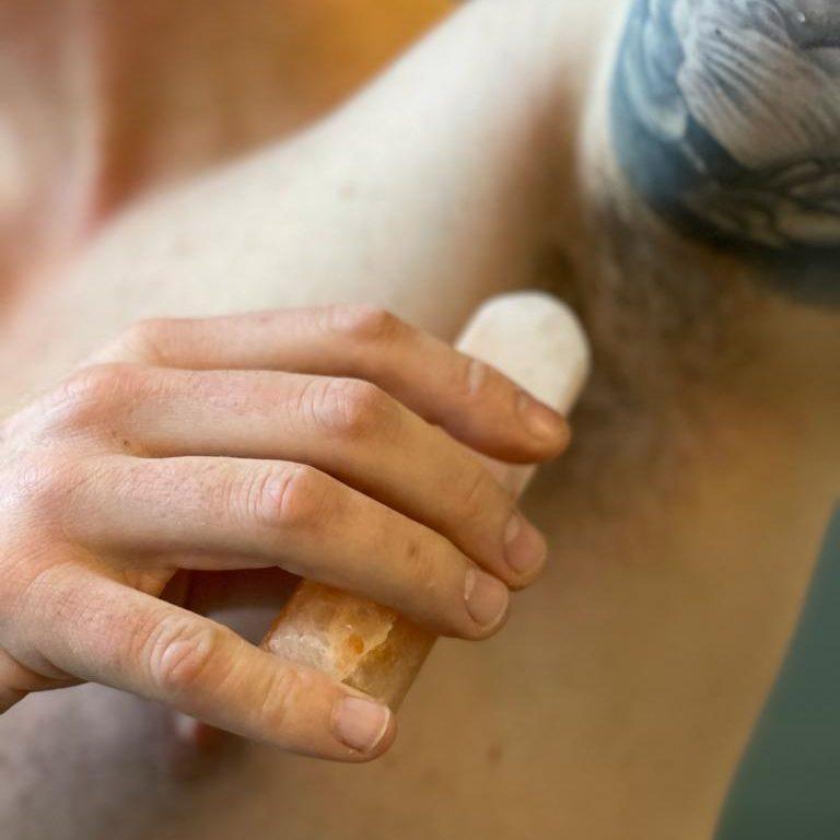 Himalayan Pink Salt Stick Deodorant and Male Underarm