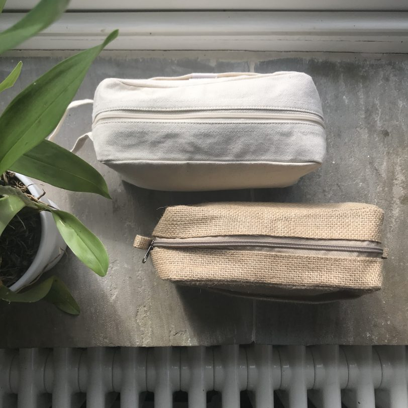 Unbleached Light Cream Coloured Cotton and a Jute Cosmetic and Toiletry Bags