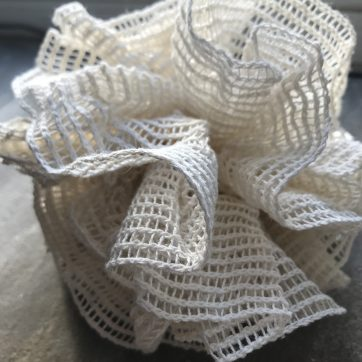 Close up organic Unbleached cotton pouf