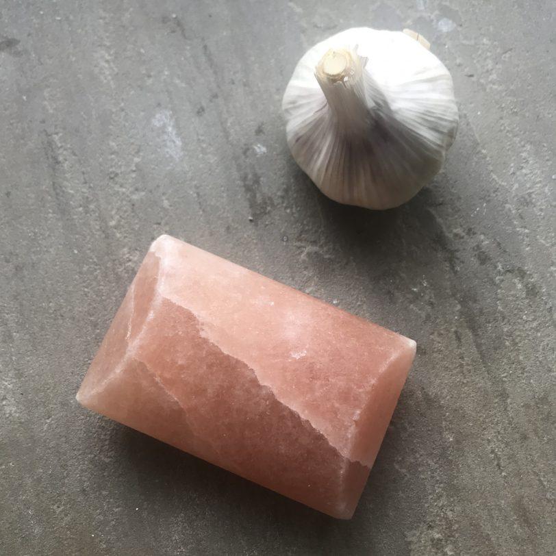 Garlic bulb and salt bar