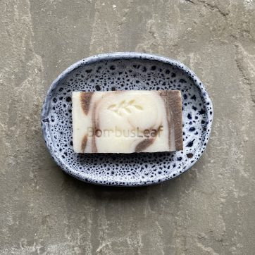 Medium sized soap dish with cinnamon guest soap