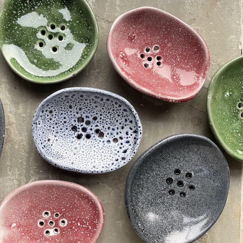 Top left green ceramic soap dish
