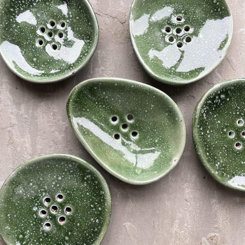 Green Ceramic Soap Dish