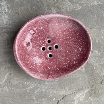Single Pink Ceramic Soap Dish