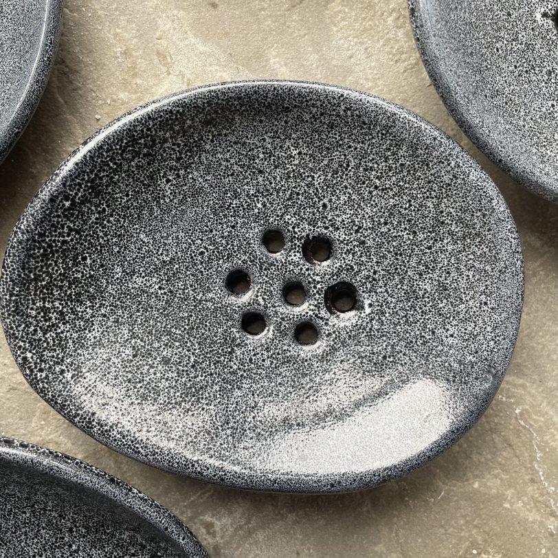 Single black ceramic soap dish